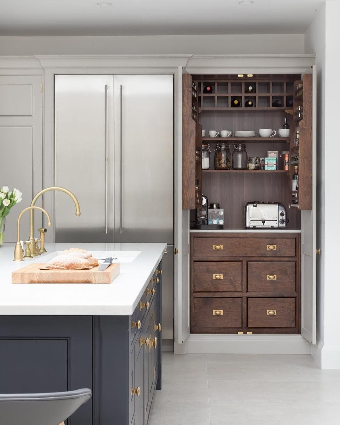 Humphrey Munson On Instagram A Breakfast Pantry Cupboard Positioned Right Next To The Gaggenau French Door F Hidden Kitchen Kitchen Design Home Decor Kitchen