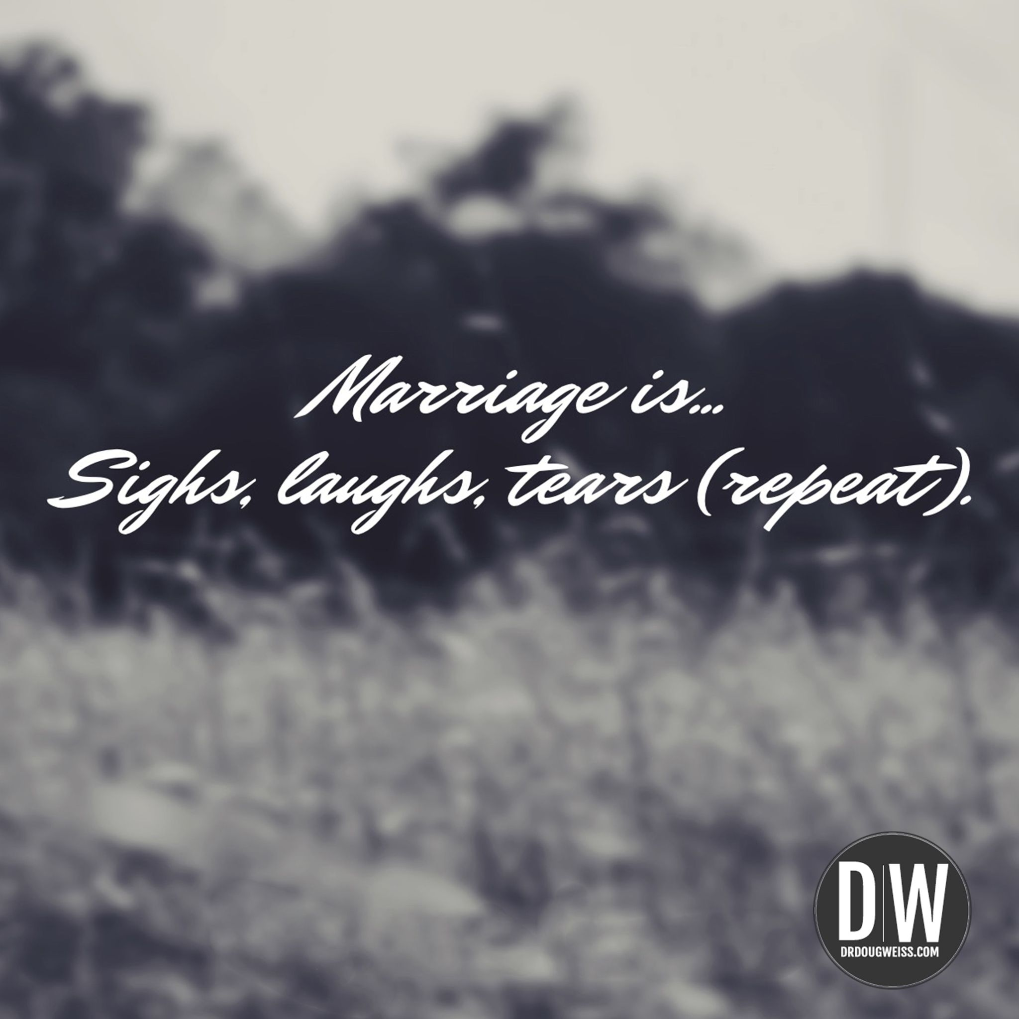 Marriage is... sighs, laughs, tears. (Repeat) marriage