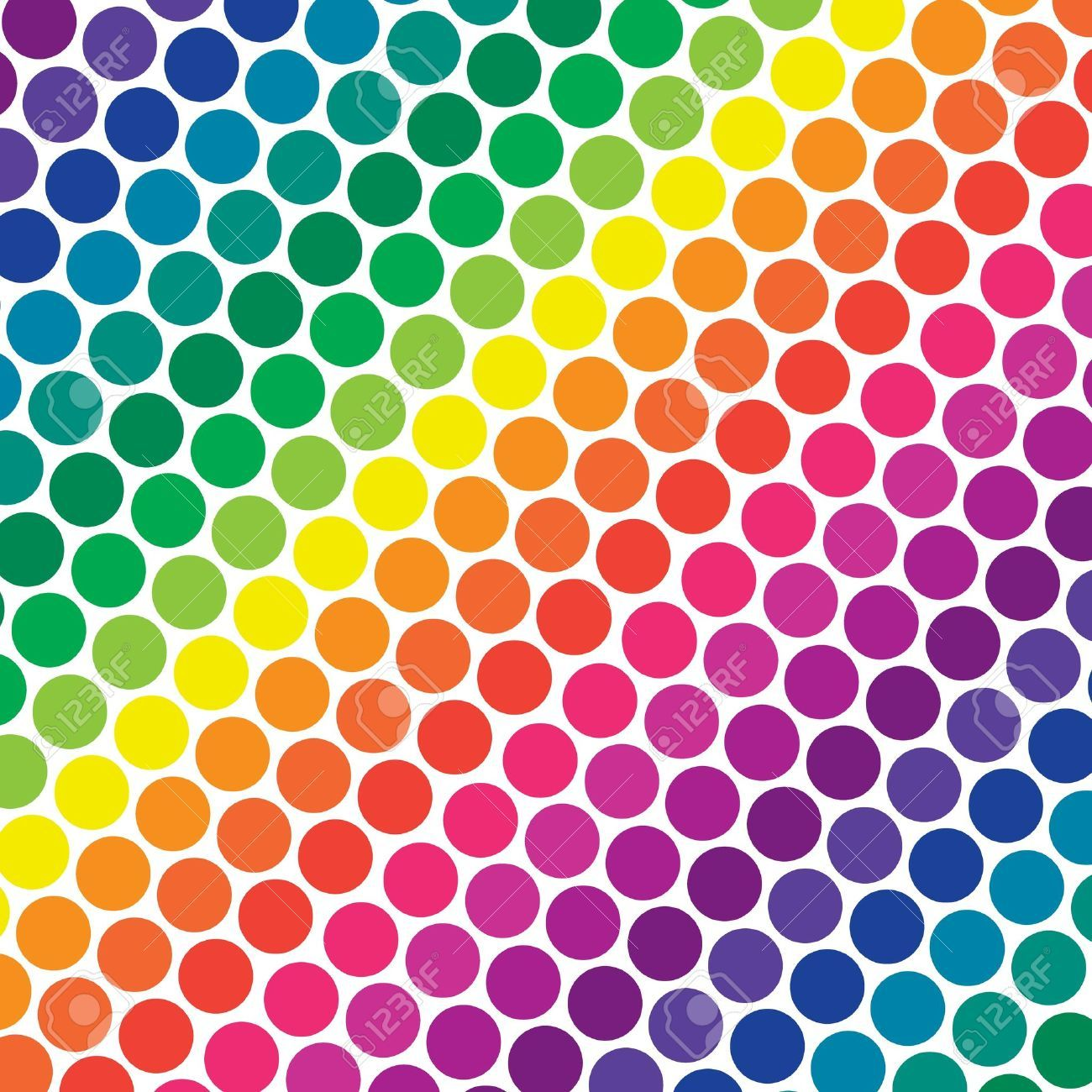 Illustration Of Bright Rainbow Colored Polka Dots In ...
