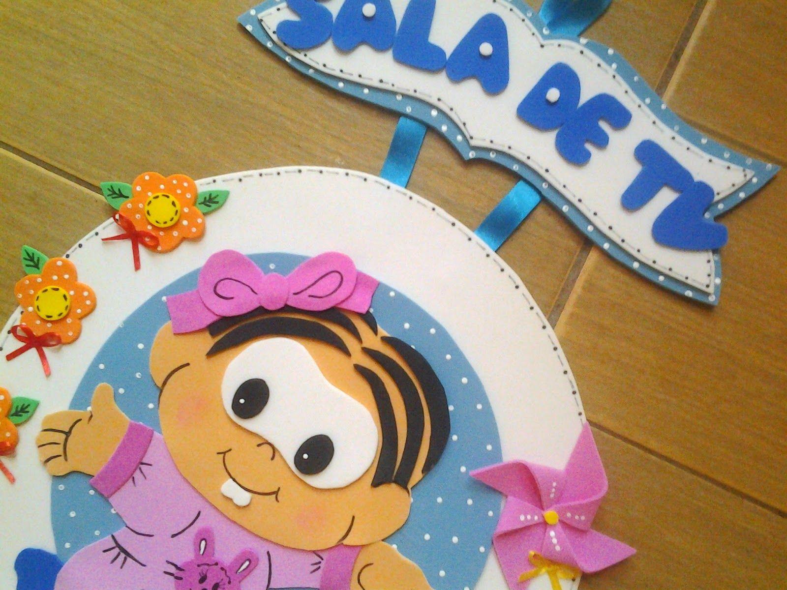Para a Creche Mª Luiza, 04 novas plaquinhas de identificação  da Turminha Mônica Baby...Fofas, coloridas e alegres!            Brinquedoteca...