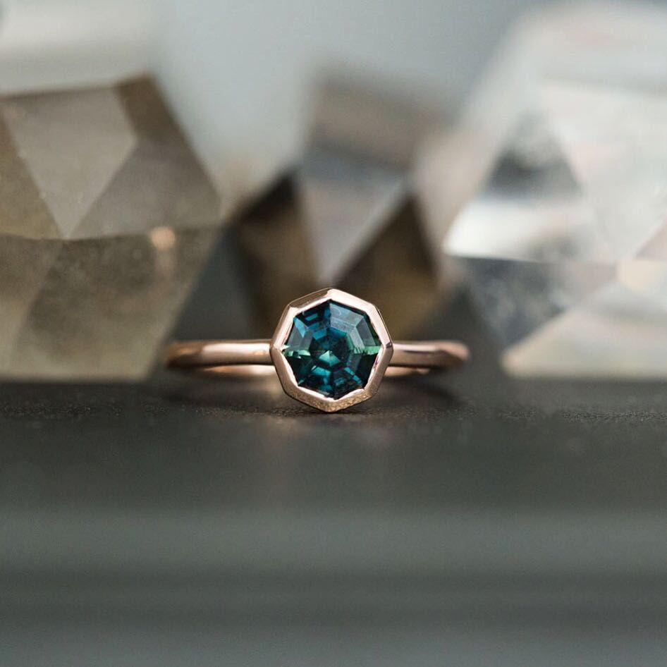 1.41ct Bezel Set Octagon Unheated Sapphire Ring in 14k