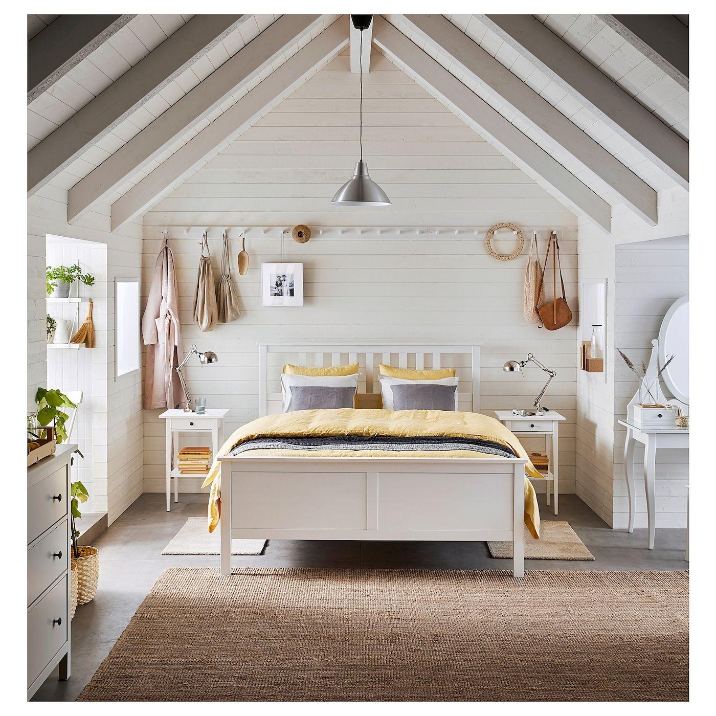 HEMNES Bed frame white stain IKEA | Hemnes bed, Ikea