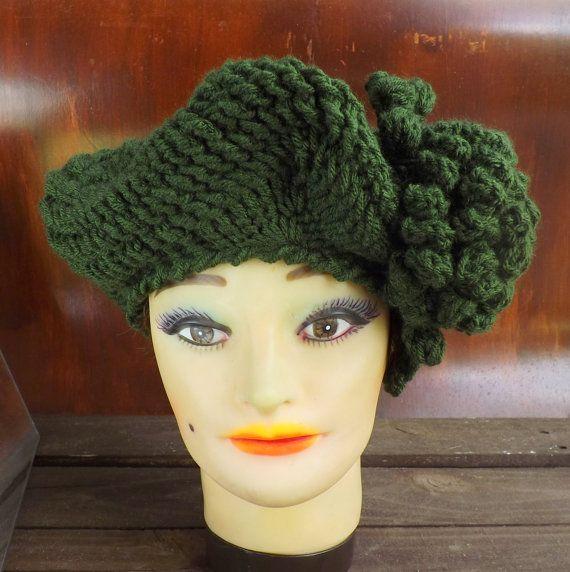 Crochet Beret Pattern Crochet Pattern Hat Crochet Hat Pattern  Womens Hat Crochet Beret Hat Pattern Crochet Flower LYNETTE by strawberrycouture by #strawberrycouture on #Etsy
