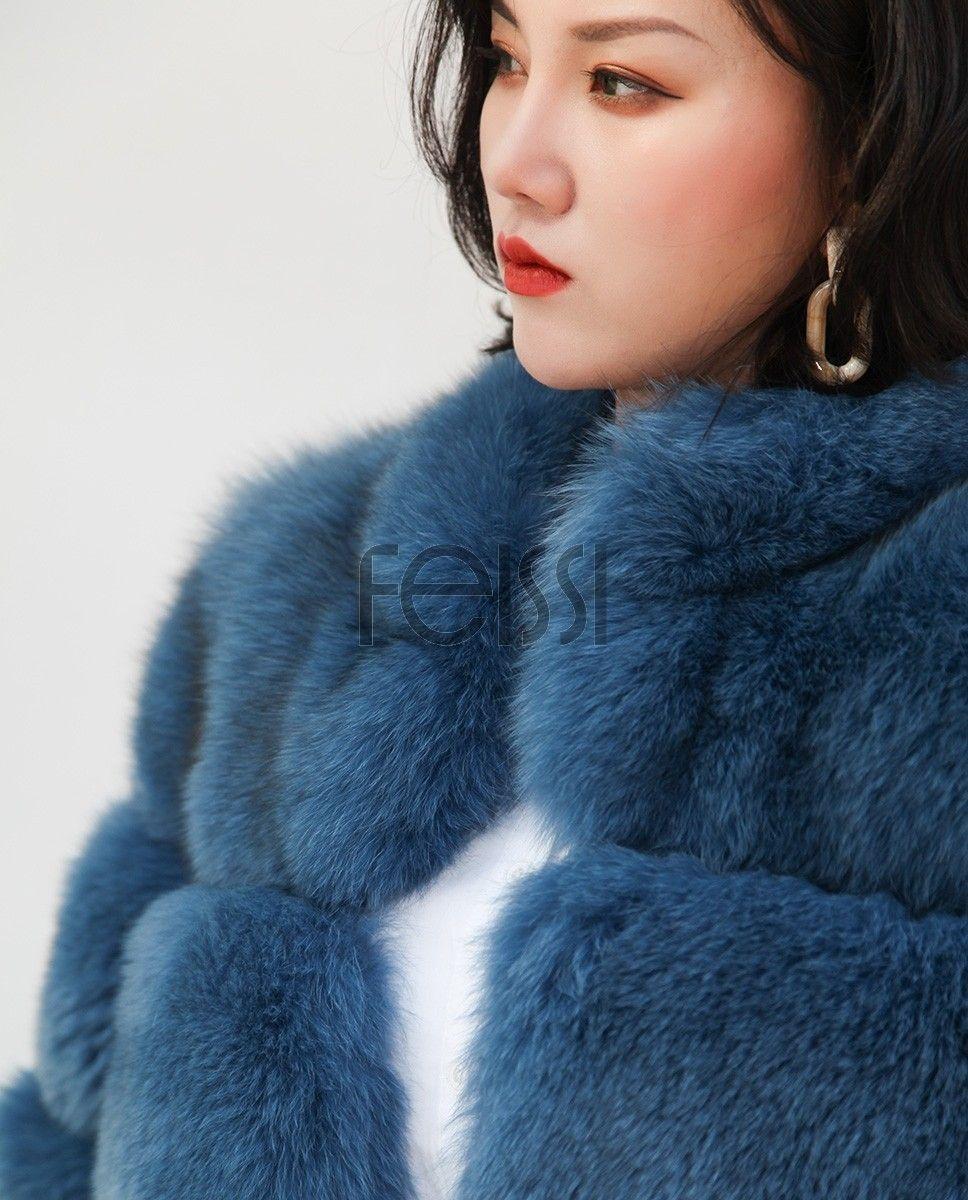 Real Fur Coat & Jacket Blue Fox Fur Coat 0105 Fur
