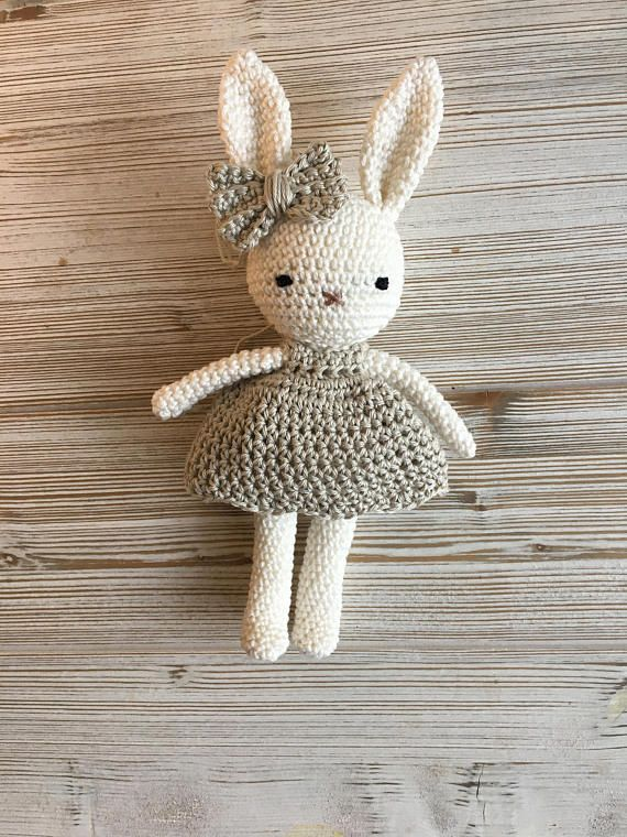 Lovely amigurumi animal bunny girl with lovely dress, hand crochet soft cuddly toy, perfect soft cuddly toy for your child.
