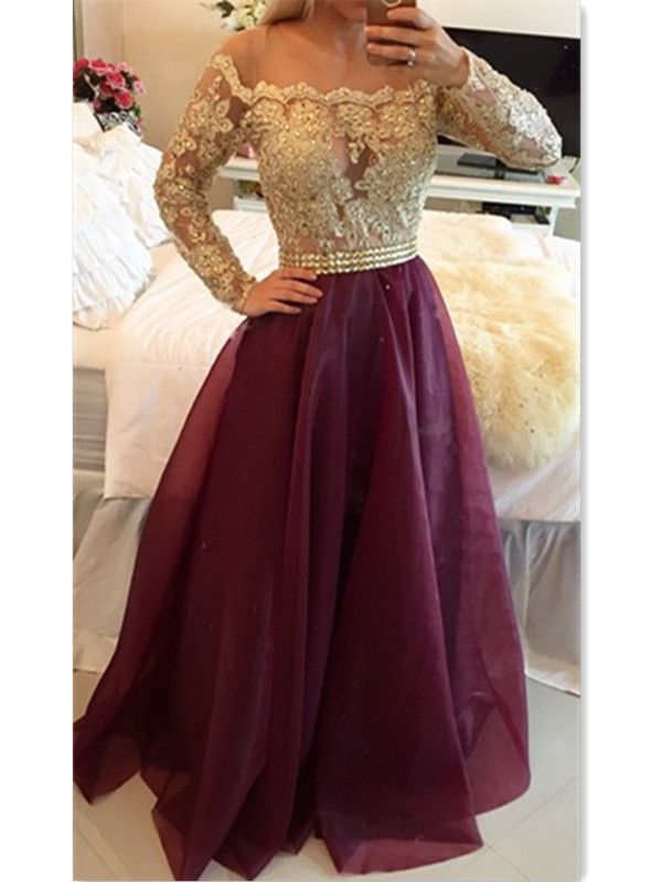 ... Lace Illusion Boat Neck Off The Shoulder Long Sleeves Prom Gowns With  Beading. Sweetheart Burgundy Long Prom Dress Popular Formal Evening Dresses  For ... ac35470c87ec