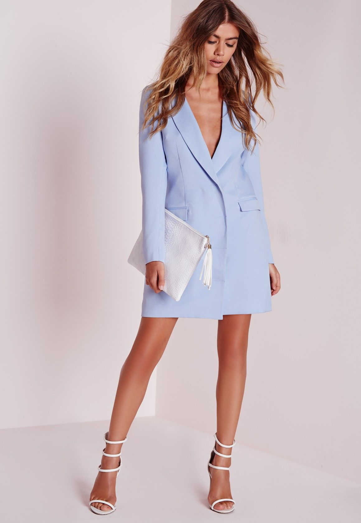 d136d59445b missguided long sleeve blazer dress blue
