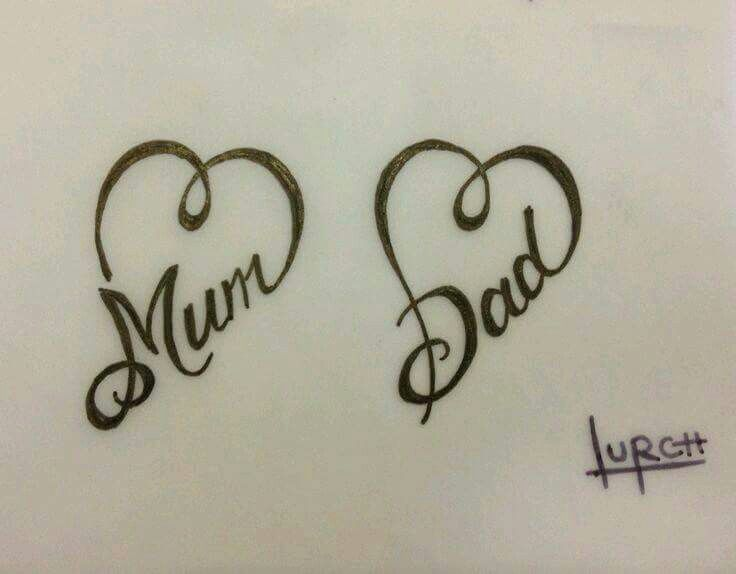 Mom Dad Heartbeat Tattoo: Small Feminine Tattoos, Mum And Dad