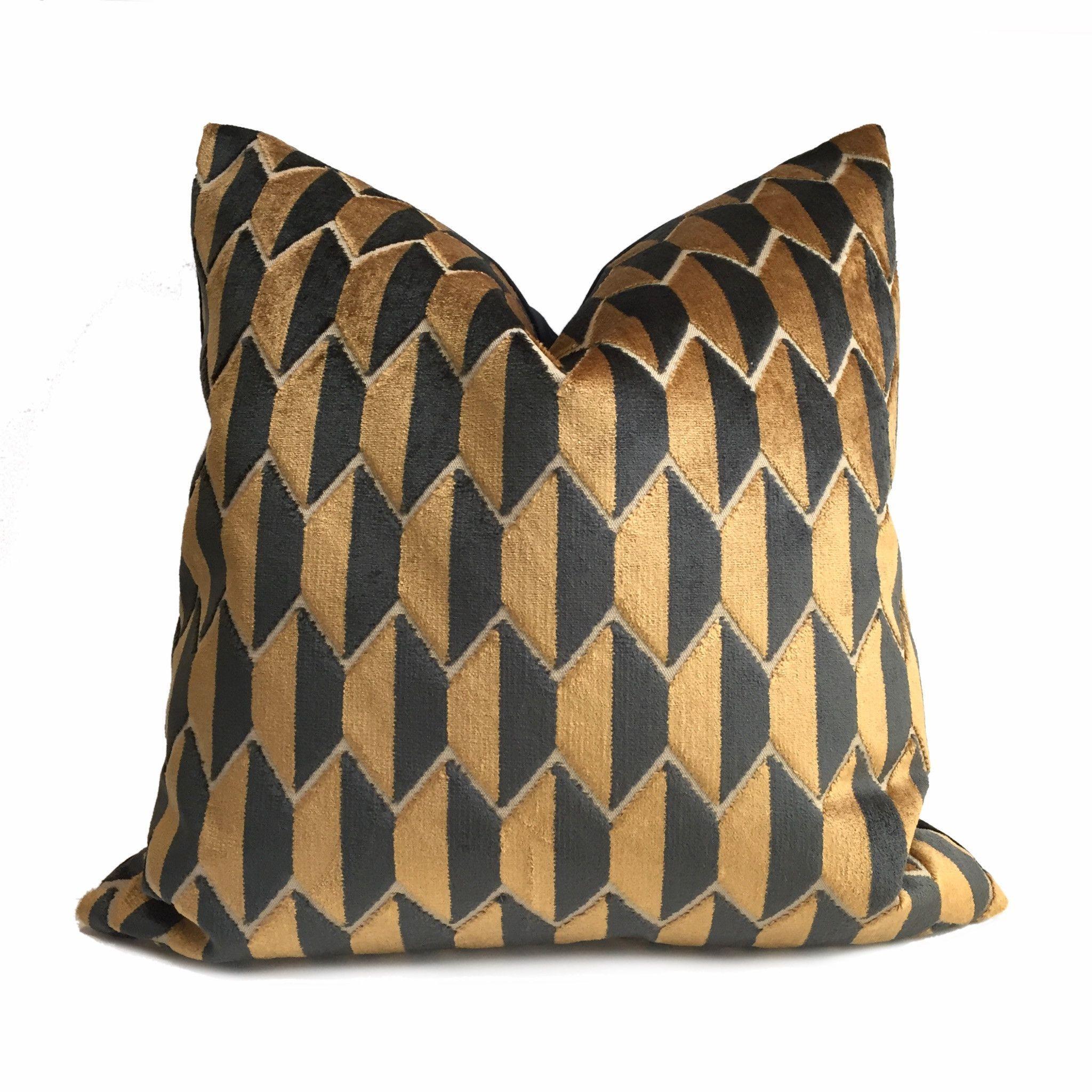 Robert Allen Geometric Copper Brown Black Velvet Pillow Cover ...