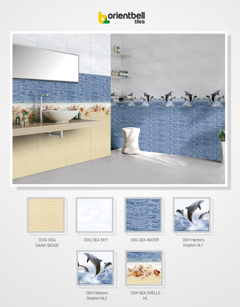 Odg Sea Sand Beige Odg Sea Sky Odg Sea Water Odh Hectors Dolphin Hl 1 Odh Hectors Dolphin Hl 2 And Odh Sea Shells Hl Tile Bathroom Sand Beige Buy Tile