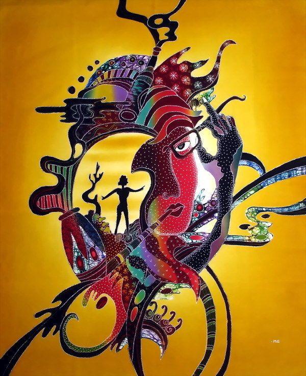 Surrealism style batik painting art, batik wall decor w539 Please ...
