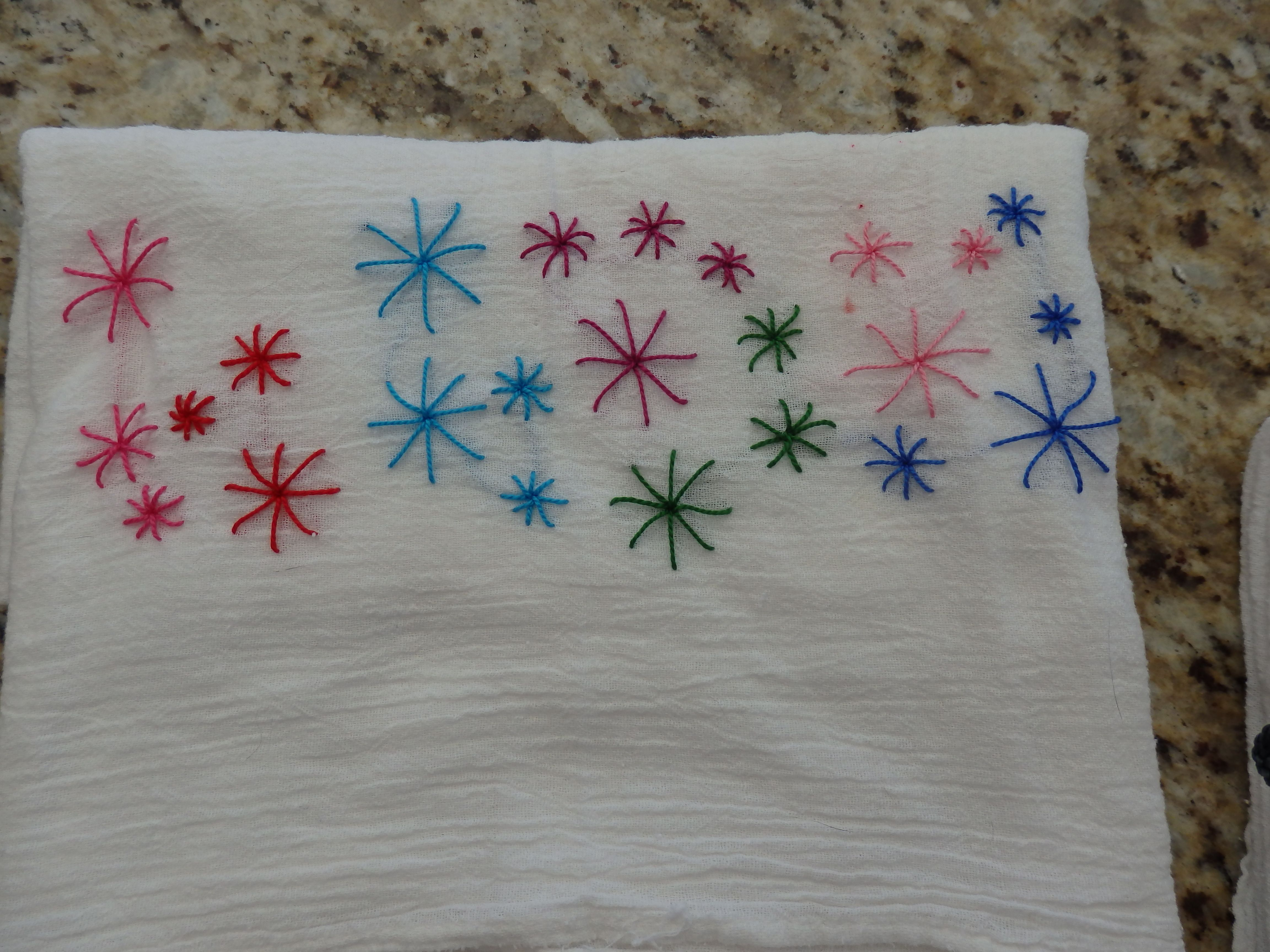 Fun way to dress up a bar towel. Done while watching a movie!