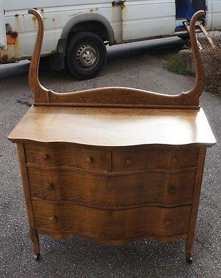 Antique Quartersawn Oak 3 Drawer Serpentine Dresser Mirror