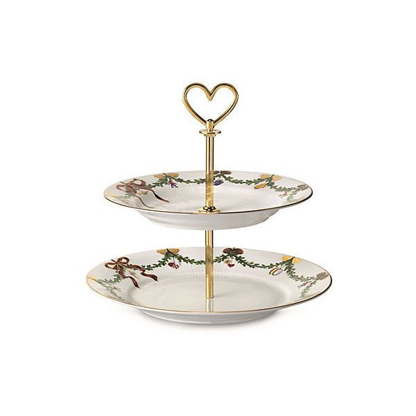 Star Fluted 2 Tier Serving Stand Cake Stands Tiered Trays Royal Copenhagen Tiered Stand Christmas China