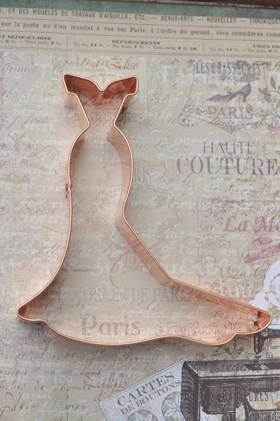 Wedding Gown cookie cutter, ecrandal (Olivia Gown) copper cutter ...
