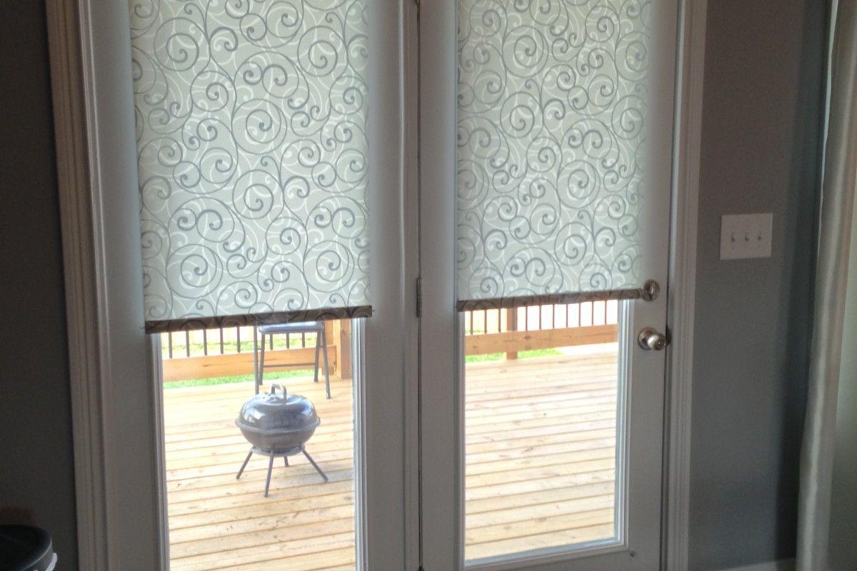 Graber Cordless Roller Shades In Clarksville Door Coverings Patio Door Coverings Shades For French Doors
