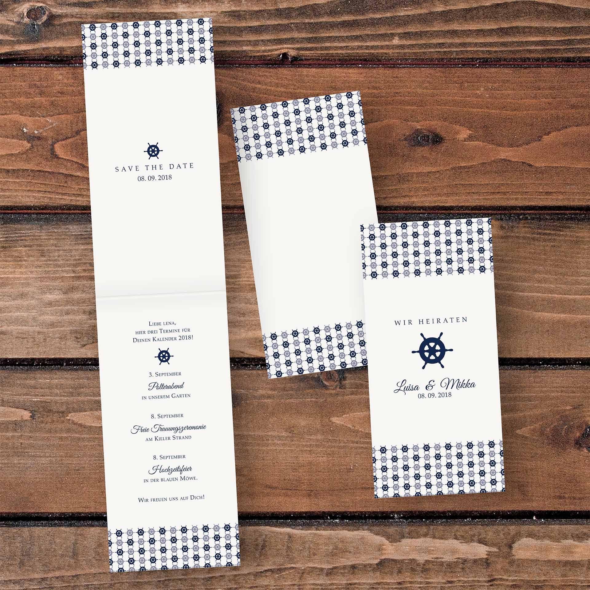 Maritime Hochzeitskarte Mit Steuerrad Einladungskarte Fur Eine