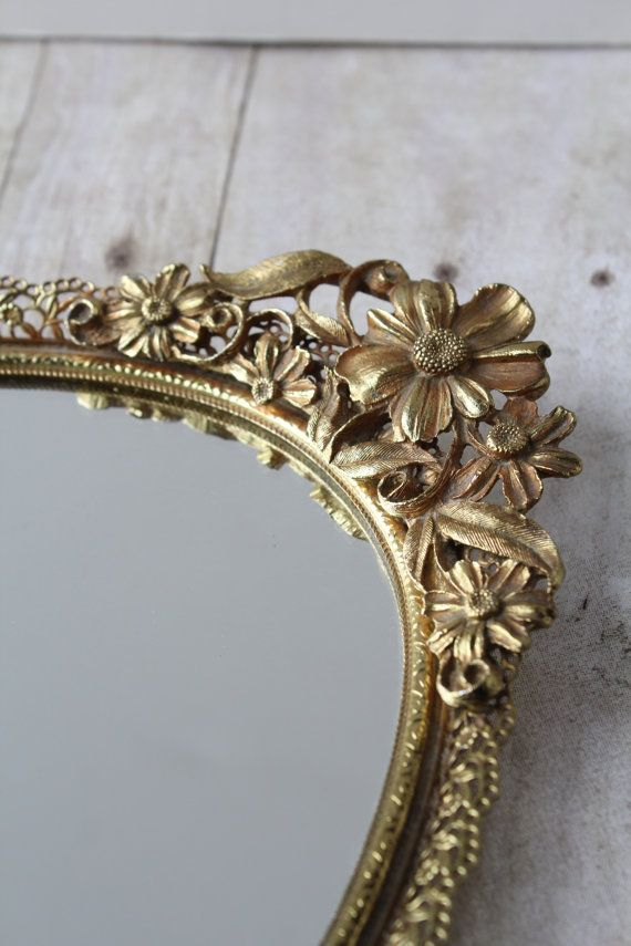 Long Gold Ornate Mirror Dresser Tray Hollywood Regency Vanity Mirrored
