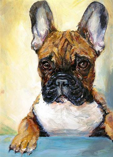 """""""Frenchie (French Bulldog)"""" - Original Fine Art for Sale - © Sunny Avocado SunnyAvocado.blogspot.com"""