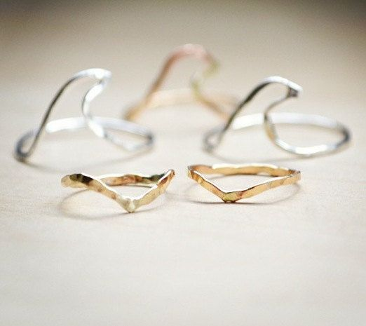 Komo Ku'e Ku'e textured knuckle rings in 14k gold fill by Laanei, $10.00
