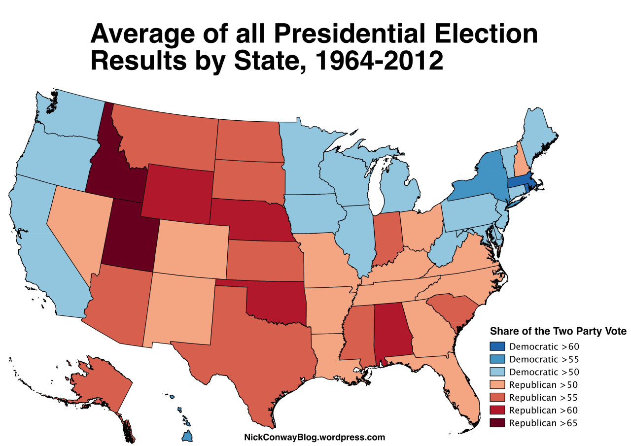 Average Presidential Election Results By US State - Democrat republican map of the us