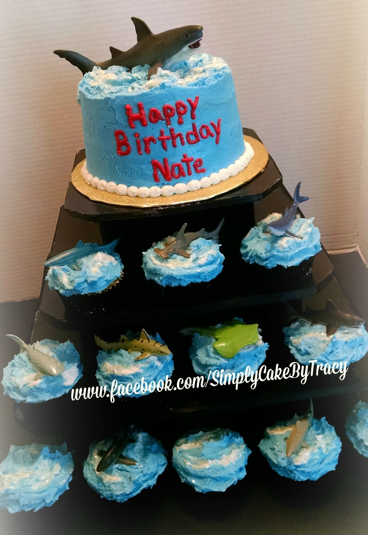 Shark themed cake and cupcake tower sharks purchased from for Michaels crafts birthday parties