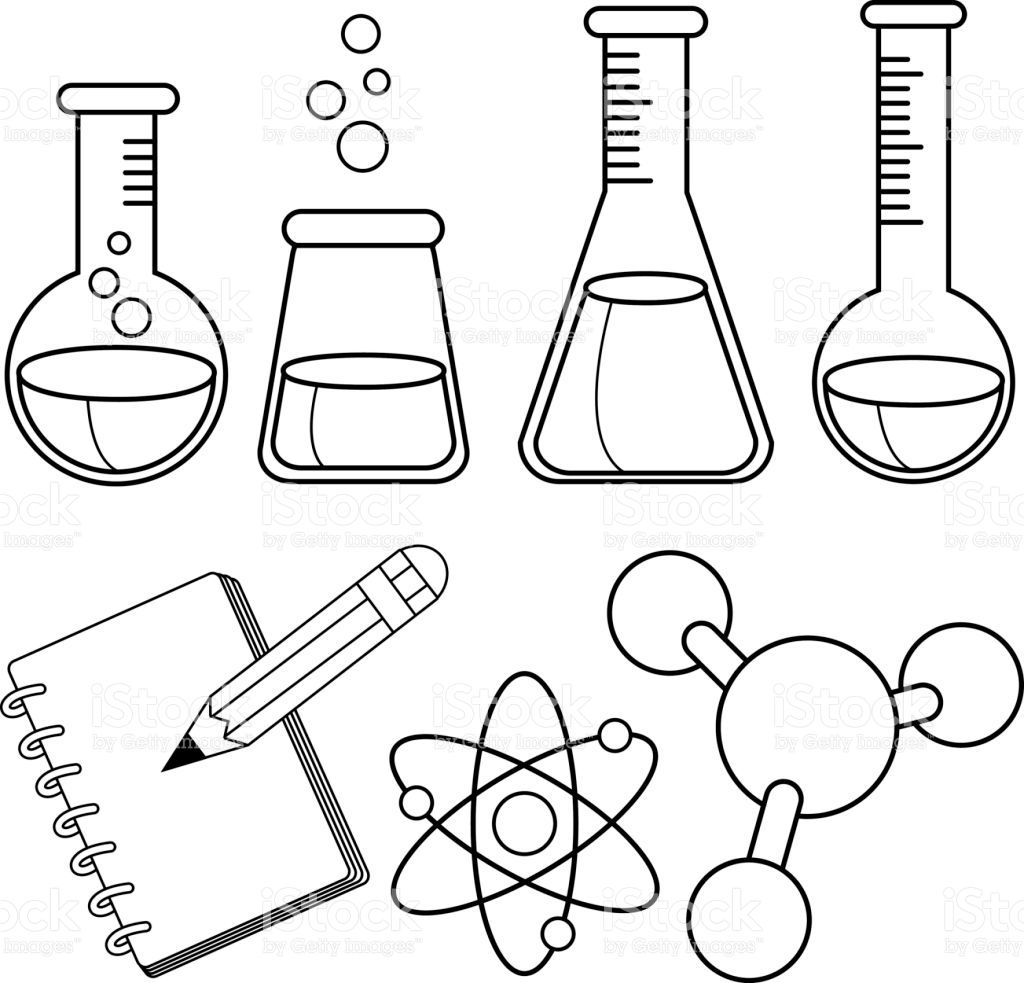 Test Tube Bottles Filled With Chemicals Notebook Pencil