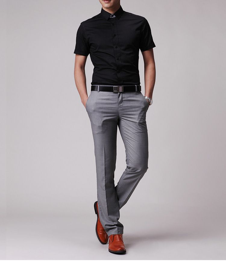 mens black dress shirt models khaki pant - Google Search | Casual ...