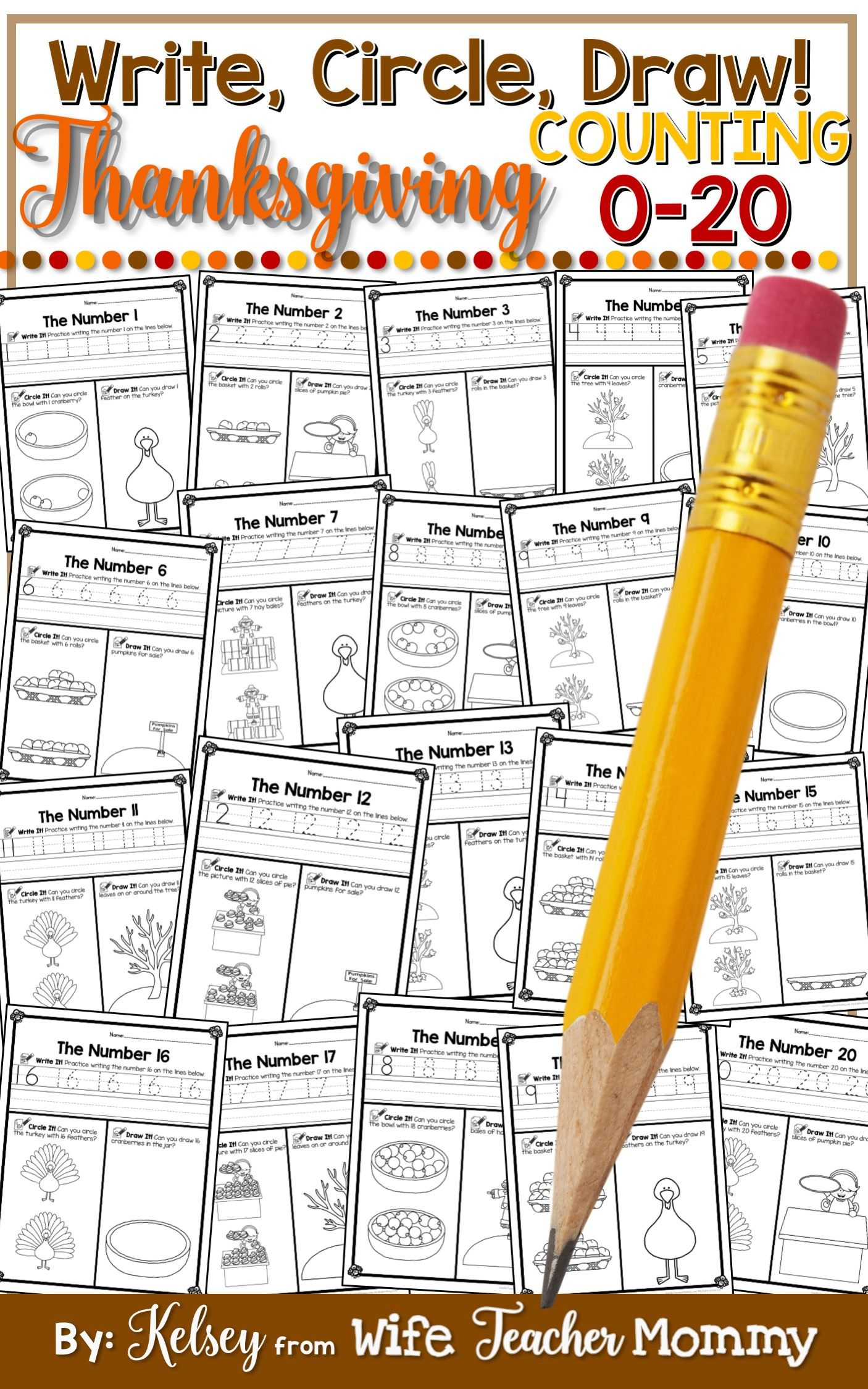 Thanksgiving Number Worksheets 0 20 Counting Worksheets