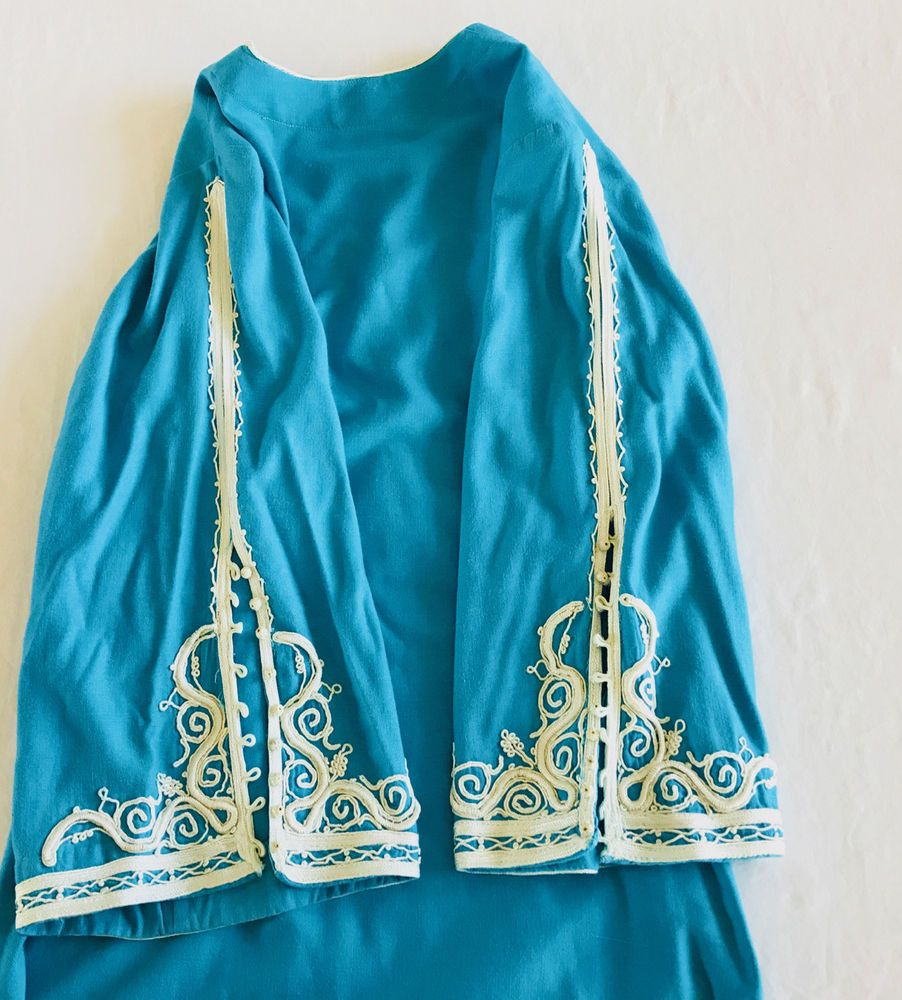 1d4ed25812 VINTAGE 70s Moroccan Linen Turquoise Embroidered CAFTAN Hippie BOho Maxi  DRESS M  Handmade  MaxiDress