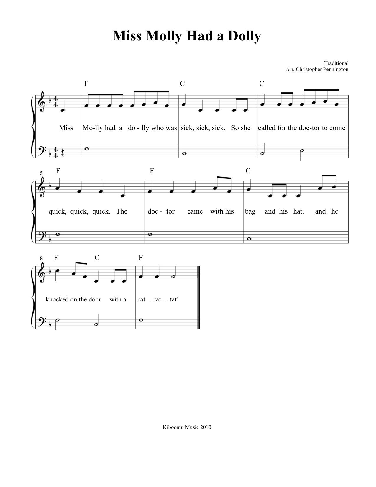 Free Printable Miss Molly Had A Dolly Sheet Music And Song For Kids