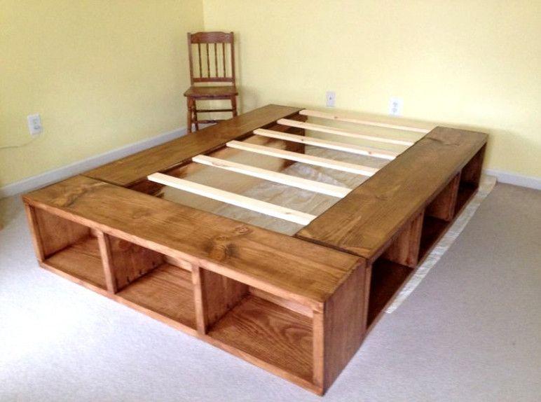 Diy Storage Bed Frame With, Queen Size Under Bed Storage
