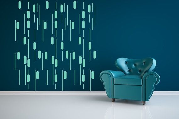 Wall Decal Rain Geometric Abstract Lines By Wallstargraphics 230 00 Modern Wall Decals Contemporary Wall Decals Apartment Wall Decor