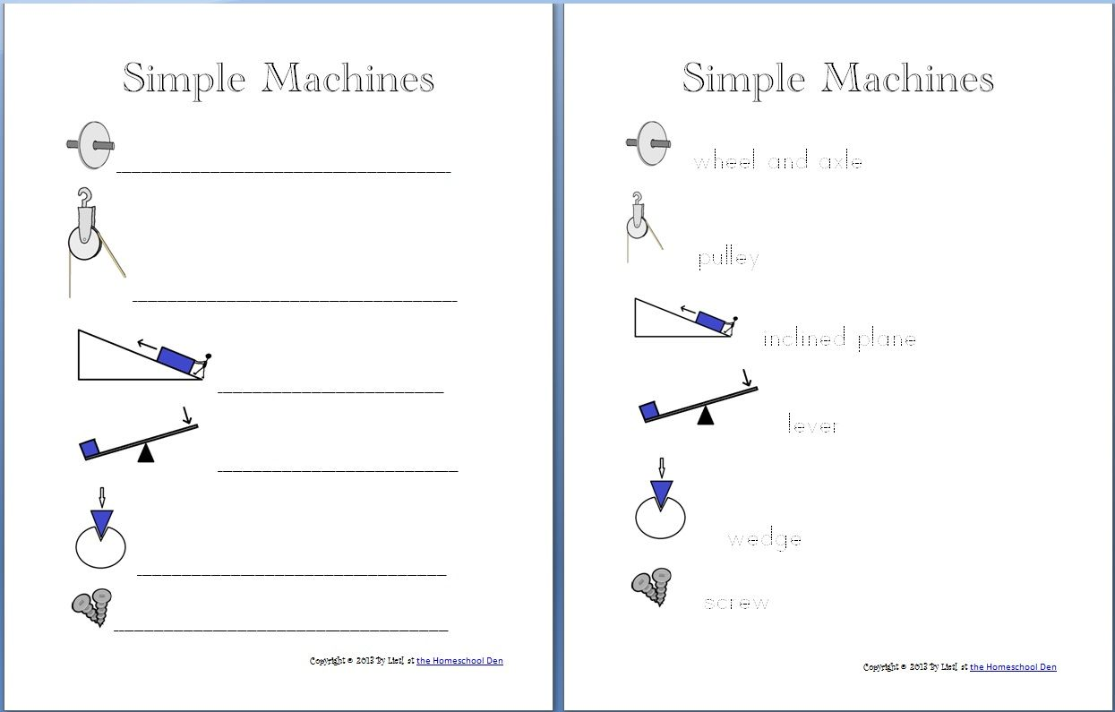 Simple Machines Packet About 30 Pages Homeschool Den
