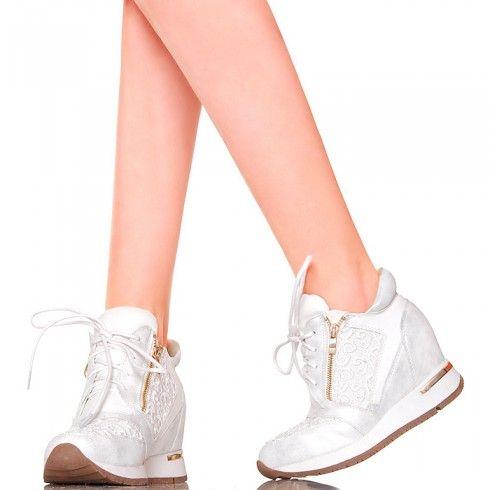 Sneakersy Bialo Srebrne Z Koronka Koturn Wedding Sneaker Wedding Shoe Sneakers