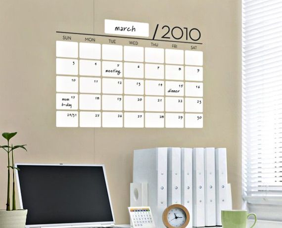 Dry Erase Calendar Vinyl Sticker Dry Erase Calendar Vinyl Wall