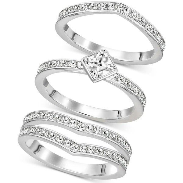 Swarovski Silver-Tone Trio Set Stackable Pave and Crystal Rings ($199) ❤ liked on Polyvore featuring jewelry, rings, silver, silvertone jewelry, crystal stone jewelry, triple ring, pave ring and polish jewelry - jewelry, ceramic, silver, mens, tanishq, amrapali jewellery *ad