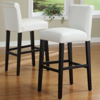 Homevance 2 Pc Mayer Counter Chairs White Leather Bar Stools
