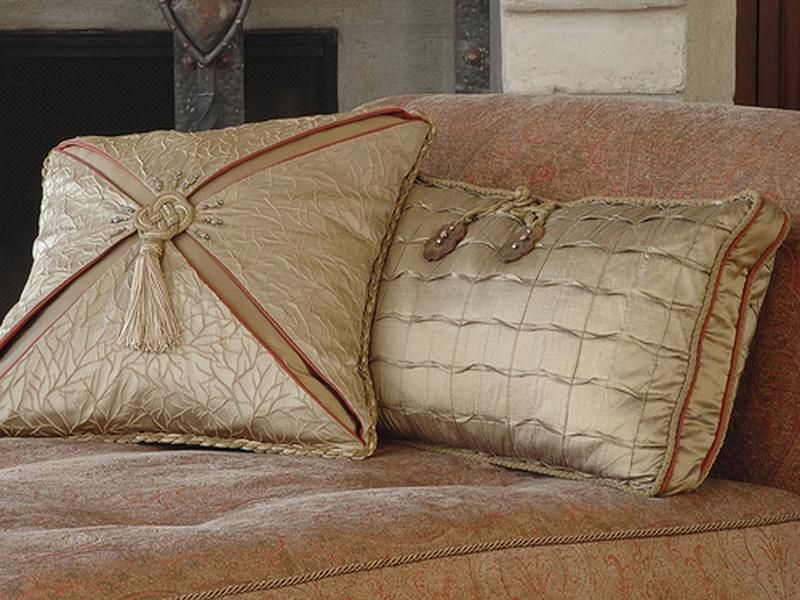 Decorative pillows decorative taupe silk pillows for Designer throws for sofas