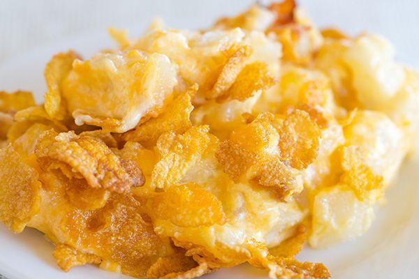 Cheesy Potato Casserole With Corn Flake Topping Brown Eyed Baker Recipe Corn Flakes Potato Casserole Breakfast Potato Casserole