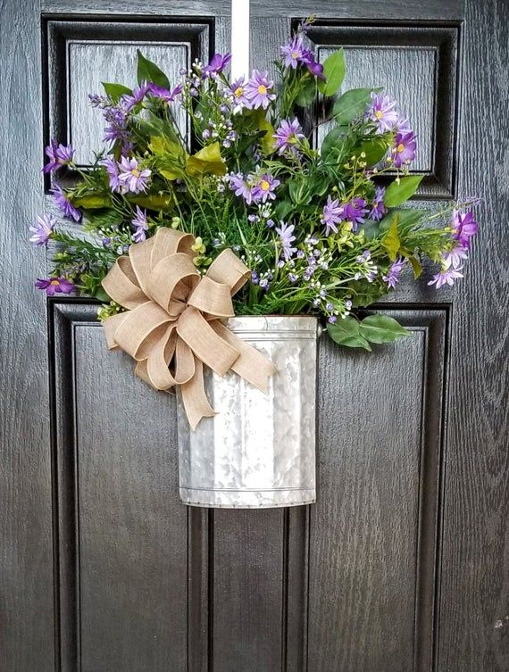 Photo of Wreaths for Front Door, Farmhouse Wreath, Bucket Wreath, Spring Wreath, Summer Wreath, Spring Door D