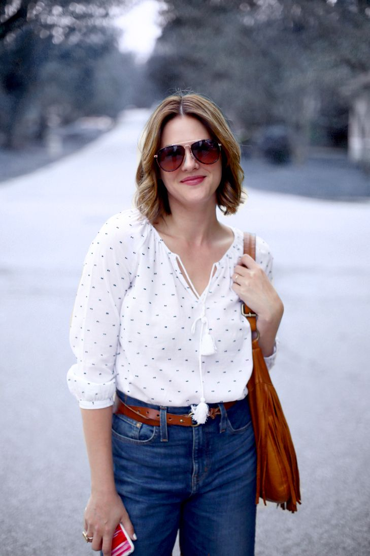 Cropped Wide Leg Jeans, Wide Leg Cropped Jeans, What to wear with cropped jeans, Peasant Blouse, Bohemian Mom, SAHM outfit