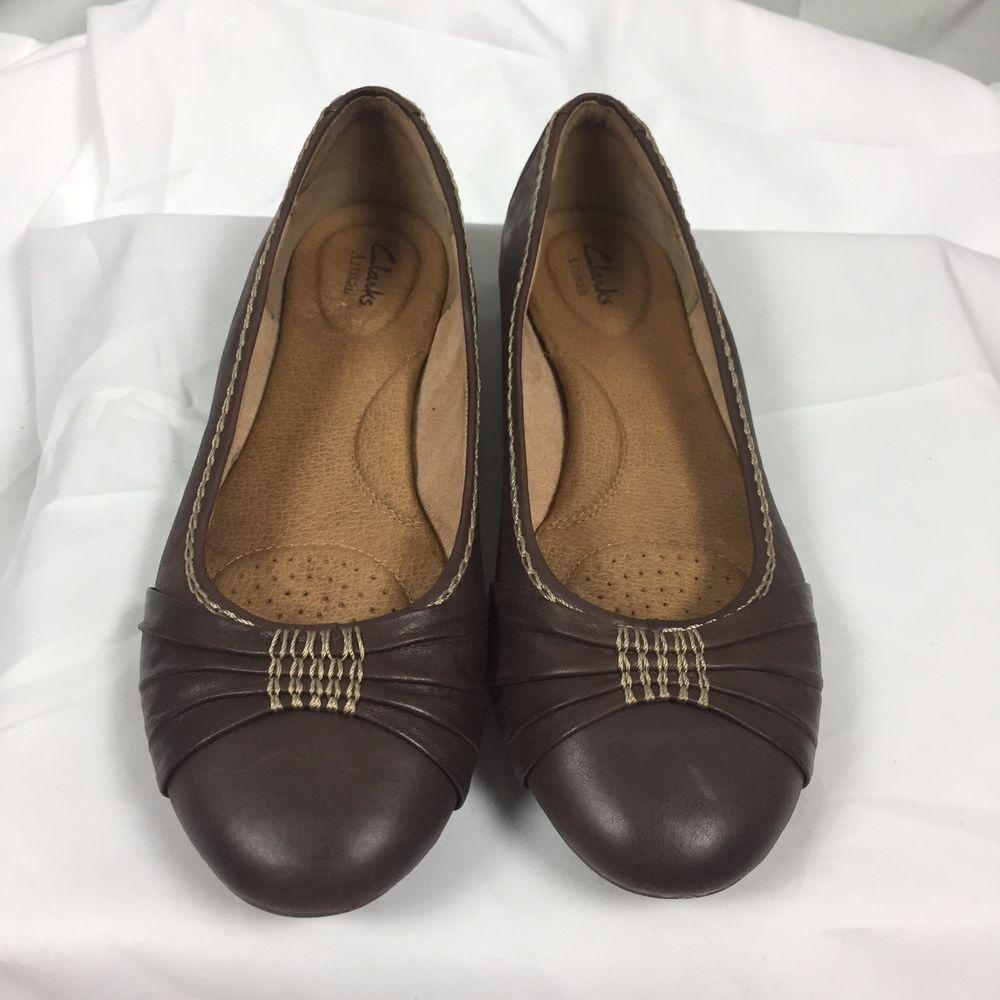 Clarks Women's 9.5 Artisan Comfort Soft Brown Leather Ballet Flat Shoes  Slip On