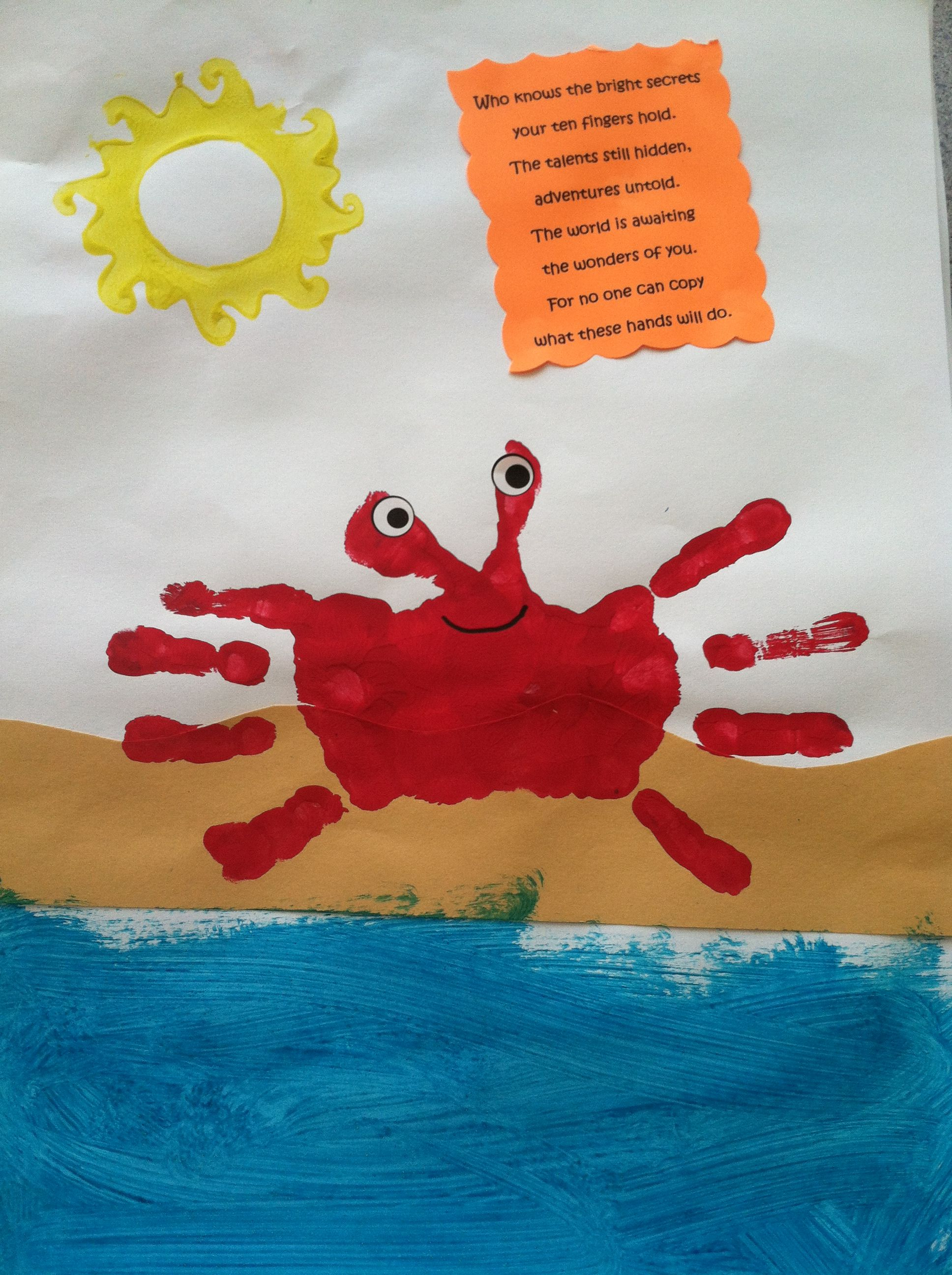 Crab Handprint And Poem Used It For A Hawaiian Luau Theme And Underwater Ocean Theme Parents