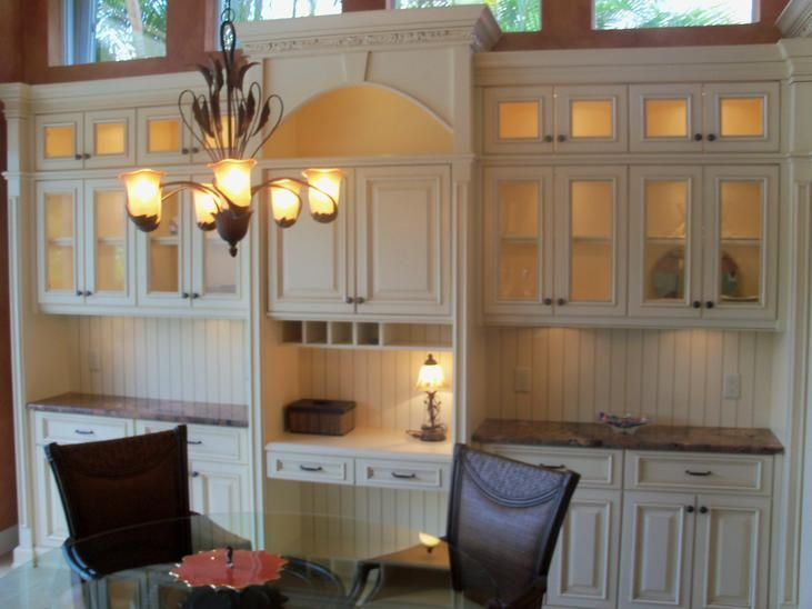 Custom Made Built In Dining Room Buffet Hutch With Pocket Doors To Conceal  The Flat Screen TV Cabinet. The Custom Cabinet Also Has A Built In Desk,  Server, ...