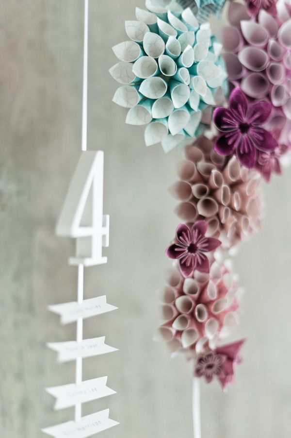 Why it works suspended whimsical escort card display my enchanted suspended and hanging seating chart with paper cone flowers by eagle eyed bride anush low photography 1 mightylinksfo