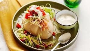 baked potato with julienne vege's and sour cream