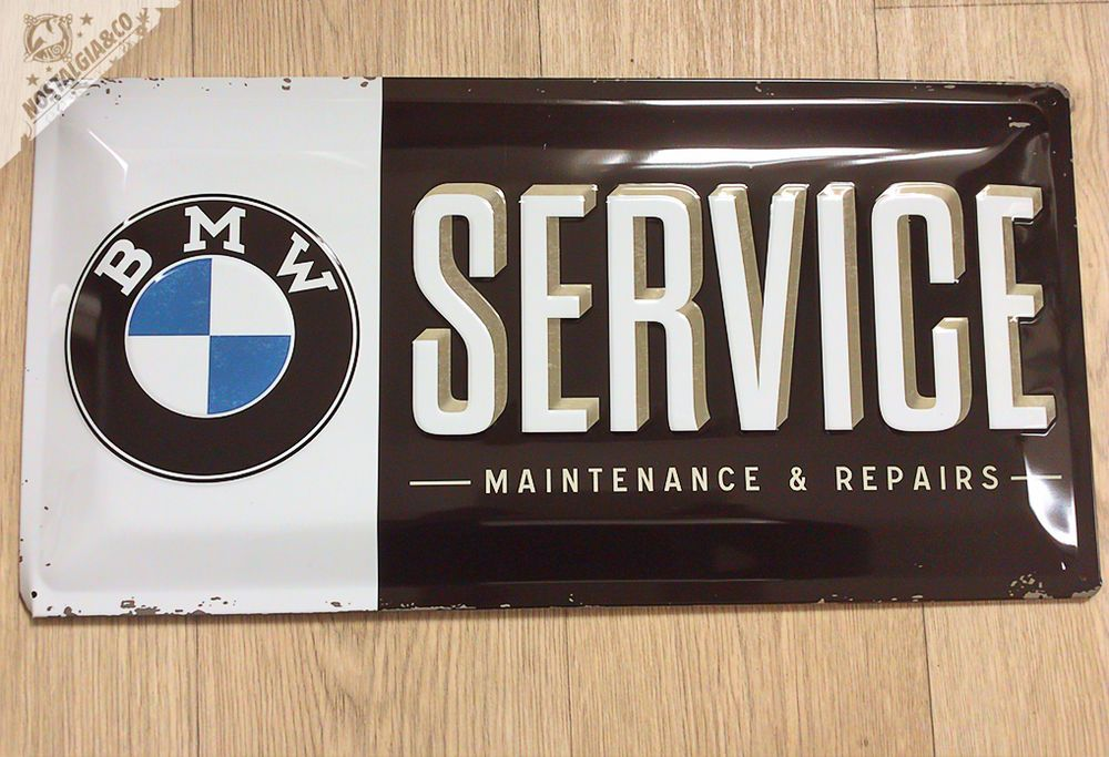 Large 20x10 Quot Bmw Service Maintenance Embossed Garage Wall