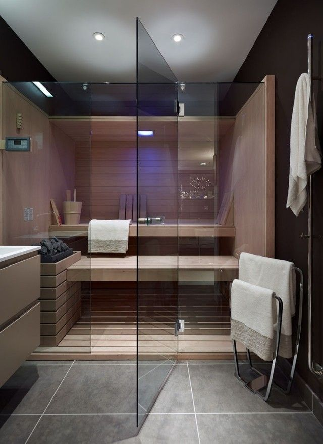 badezimmer sauna planen glaswand t r gro formatige graue bodenfliesen badezimmer pinterest. Black Bedroom Furniture Sets. Home Design Ideas