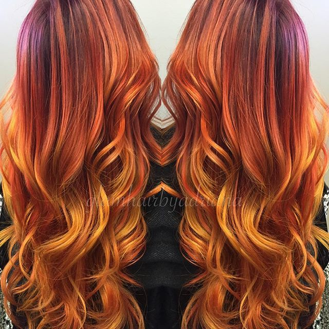 Fiery Gold Red Hair Color Melt By Adriana Redhead Hair Painting